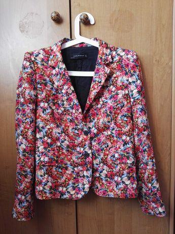 Żakiet marynarka Zara Woman S/M 36/38 kwiaty łąka maki