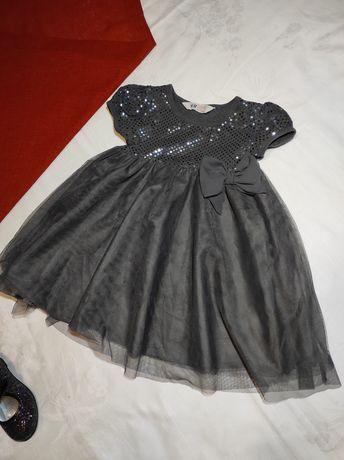 Яркое платье LC Waikiki, темное H&M девочке 4-5-6 лет 2 шт