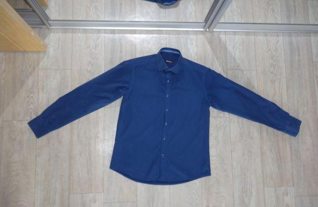 Синяя подростковая рубашка на мальчика S M 170см 16 17 лет подростка