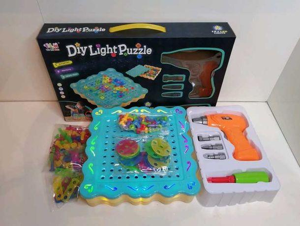 Конструктор на 200 деталей - Большой Diy Puzzle Light - мозайка Новый