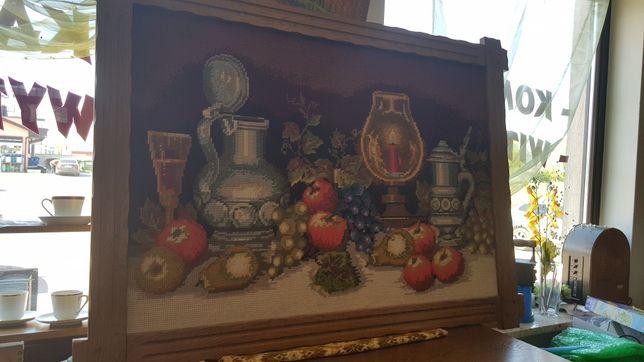 Obraz w dębowej ramie142 x101 wyszywany