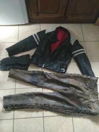 Spodnie,kurtka,rękawice skórzane