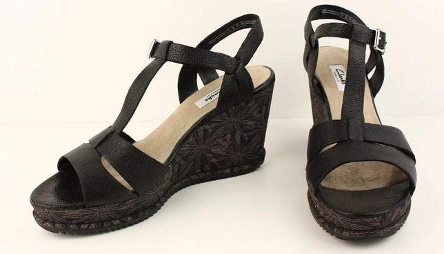 Clarks piękne eleganckie sandałki platformy 41.5 wkładka 27 Nowe