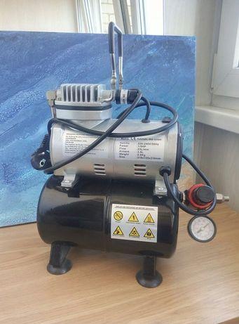 Компрессор для аэрографа безмасляный с ресивером, редуктором и фильтро