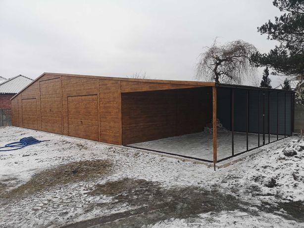 Garaz drewnopodobny 18x7 złoty dąb panel pozomo konstrukcja z profila