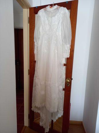 vestido de noiva, 34-36, c/véu e acessórios