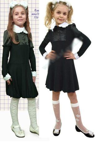 Школьное платье с воротничком и манжетами 1 класс