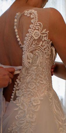 Suknia ślubna w kolorze szampańskim z dodatkiem ecru