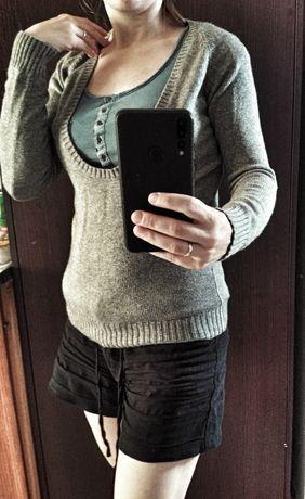 Sweter Zara jedwab kaszmir wełna merino do karmienia