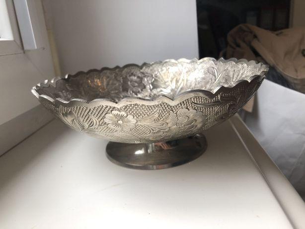 Indyjska misa patera miska made in India 20cm srebrna