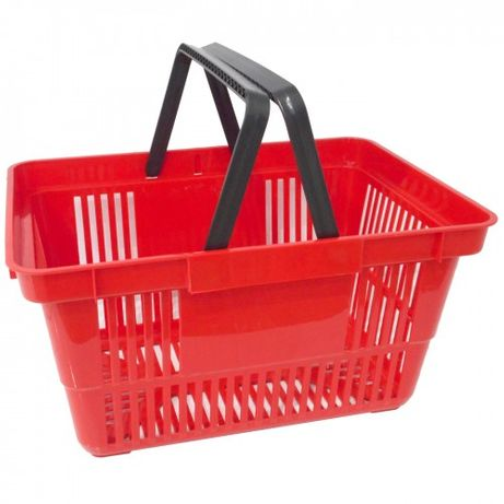 Корзинки пластиковые для покупателей на 22 л. с двумя ручками.