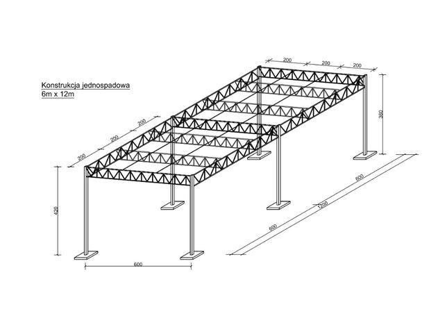 Konstrukcja Stalowa 6x12 Wiata Garaż Magazyn Hala Zadaszenie