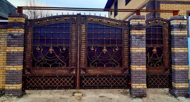 Кованые ворота; Ворота с профилем; Решетки; Беседки; Качели