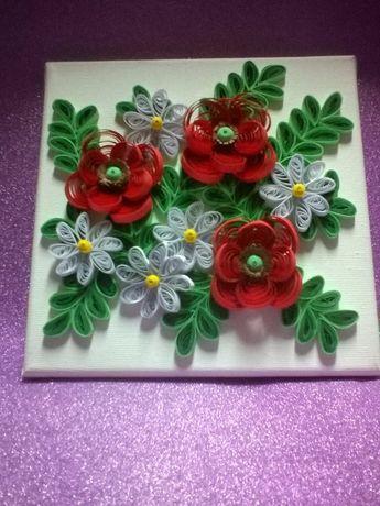 Obraz kwiaty 20 X 20 cm. Quilling
