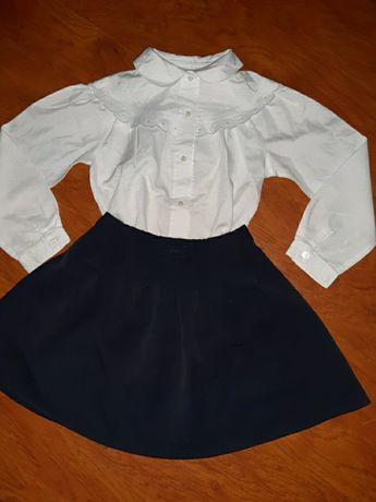 Рубашка белая юбка темно-синяя 110-116см