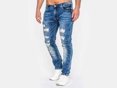 spodnie jeansowe męskie z przetarciami jeansy slim fit 36 (pas 94-102)