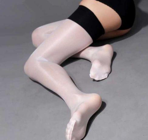 Ponczochy białe z czarnym pasem