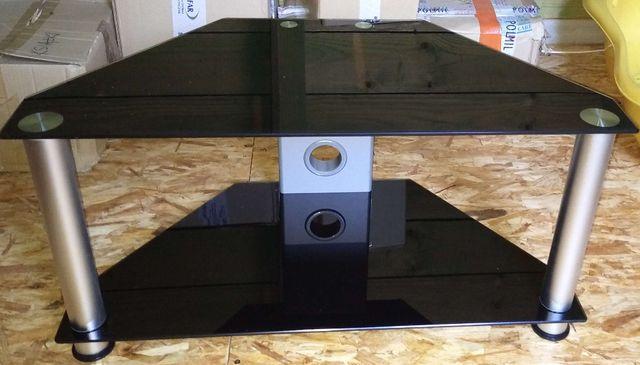 Stolik RTV szklany czarny używany
