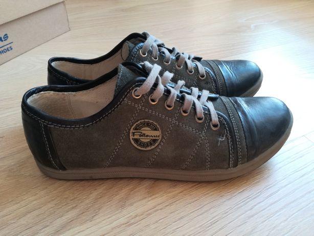 Buty półbuty 37 skórzane Pollonus Shoes czarne szare ciemne sznurowane