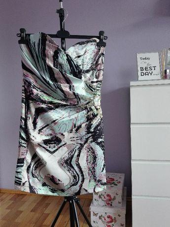 sukienka na lato wzorki mozaika kolorowa czarna miss selfridge L 40
