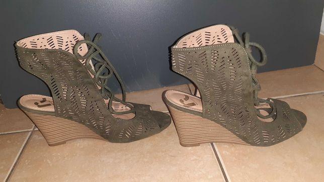 Sandały na koturnie,buty letnie, report 38