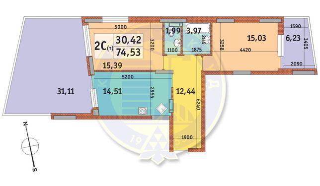 Продам 2-х ком 74.53 ЖК Итальянский Квартал Богатырская 32 Без %