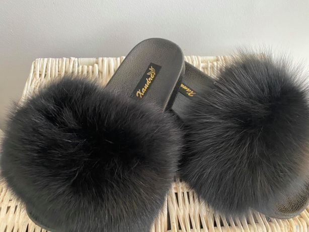 Nowe klapki z futrem z lisa naturalne futro beżowe rude camel czarne