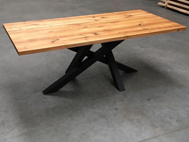 stół loft skandynawski industrialny dębowy lity