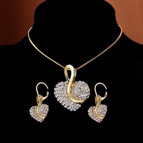 Conjunto de jóias Colar + Brincos de estilo em forma de coração