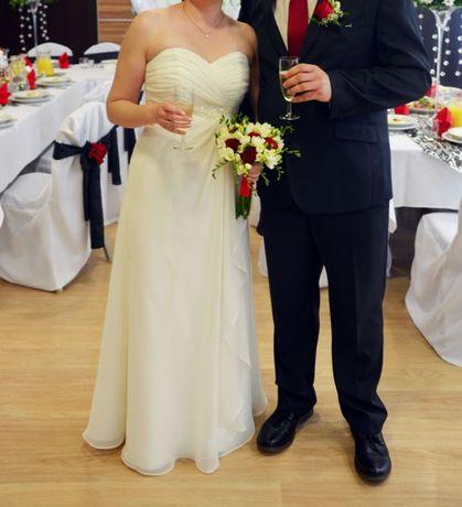 suknia ślubna, ecru, rozmiar 38, długa - pokrowiec i buty GRATIS!