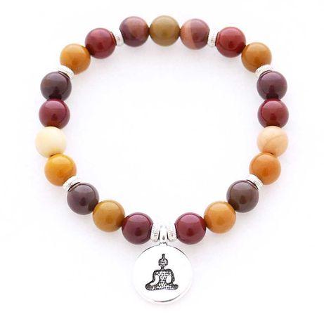 Bransoletka z kamieni naturalnych mokait z zawieszką Budda orient boho