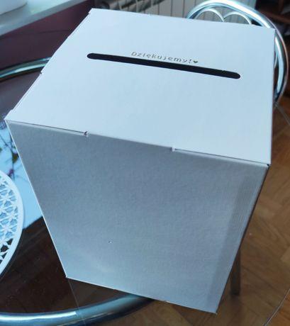 Białe pudełko na koperty (wesele) ze śladami kleju (do dekoracji DIY)