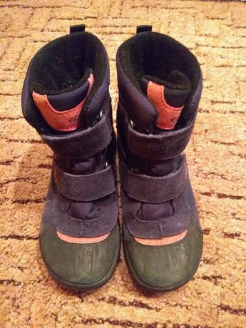 Buty wysokie dziecięce zimowe granatowe Ecco odblask