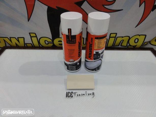 Spray reparação e pintura + spray de limpeza Bege Mate para bancos de mota