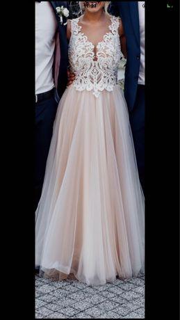 Suknia ślubna śmietankowo - beżowa