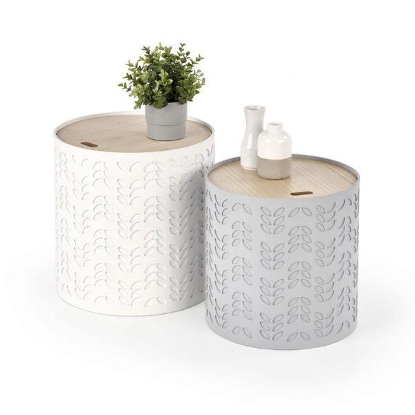 ALBA / ZESTAW 2x ŁAWA stolik ze schowkiem / BIAŁY, POPIELATY