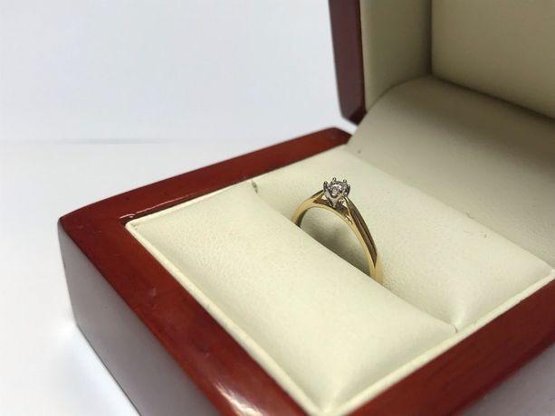 złoty pierścionek z brylantem złoto 585 rozmiar 10/ certyfikat