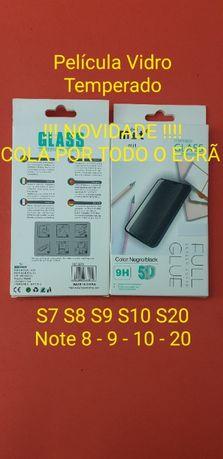 Película Vidro Temperado COLA EM TUDO S7 S8 S9 S10 S20 Note 8 9 10 20