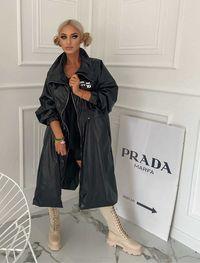 Płaszcz Damski Maxi Black Ortalion Rosa Style S/M-M/L