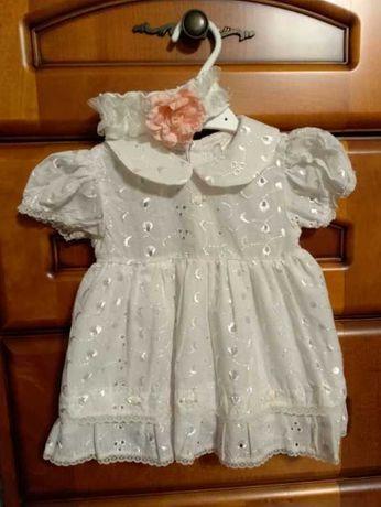 Jasno kremowa sukienka np. na chrzest rozm. 68 + opaska gratis