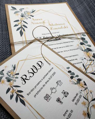 Zaproszenia ślubne dwie karty rustykalne A5 + A6 eko eukaliptus liście