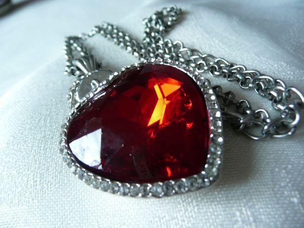 Wisior naszyjnik kolia serce srebro rubin czerwony kryształ cyrkonie