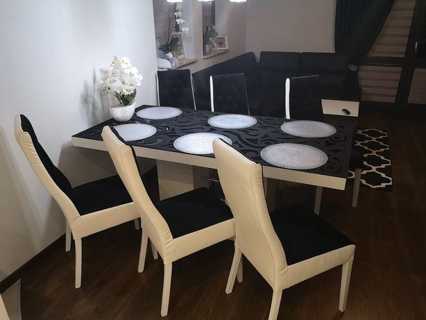Zestaw do kuchni Stół linosa 2 Nowoczesny lakierowany +6 krzeseł.