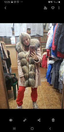 Расрочка парки с мехом енот , Чернобурка, зимний пуховик курточка зима