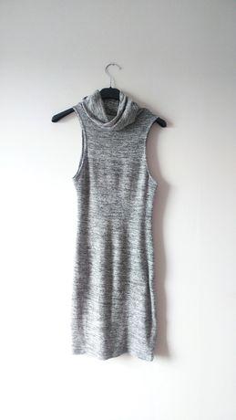 Nelly szara dzianinowa sukienka z golfem elastyczna siwa dopasowana