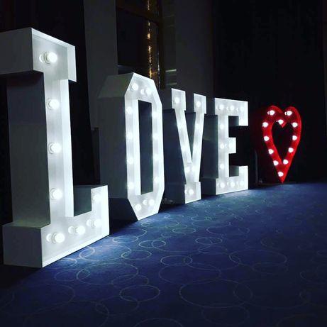 Napis LOVE MILOSC LED, ciezki dym,osiemnastka, wesele ! Zapraszamy !