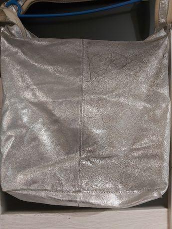 Srebrna torba - skóra naturalna