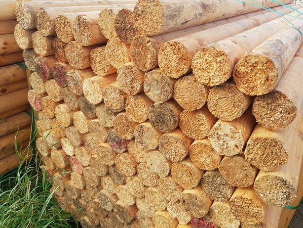 Wałki drewniane iglaste okrąglaki słupki słupy bele belki fi 90mm 2,6m
