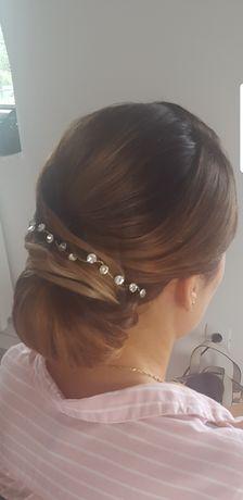 Złota ozdoba do włosów, 28 cm
