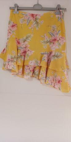 Spódnica lato żółta kwiaty falbany asymetryczna S M krótka mini kolano